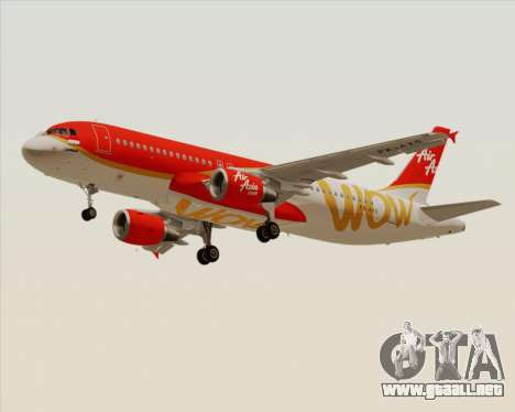 Airbus A320-200 Indonesia AirAsia WOW Livery para GTA San Andreas left