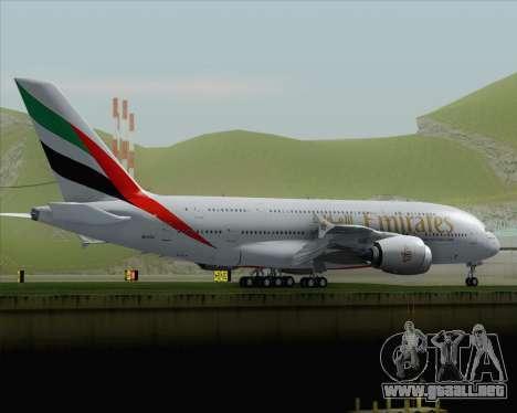 Airbus A380-800 Emirates (A6-EDJ) para GTA San Andreas vista posterior izquierda