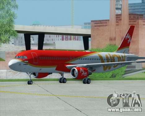Airbus A320-200 Indonesia AirAsia WOW Livery para vista inferior GTA San Andreas