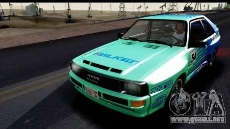 Audi Sport Quattro B2 (Typ 85Q) 1983 [IVF] para vista inferior GTA San Andreas