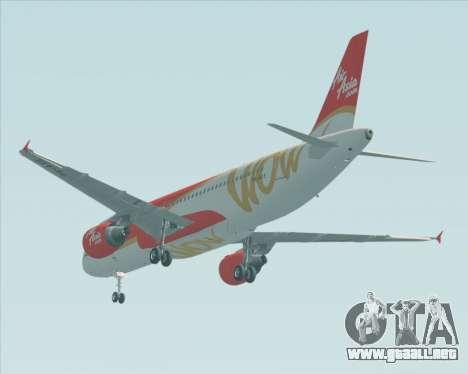 Airbus A320-200 Indonesia AirAsia WOW Livery para GTA San Andreas vista hacia atrás