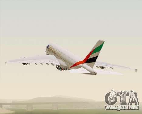 Airbus A380-800 Emirates (A6-EDJ) para vista inferior GTA San Andreas