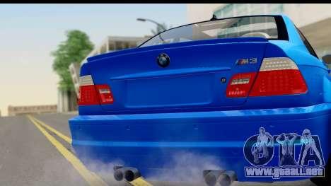 BMW M3 Stance para GTA San Andreas vista posterior izquierda