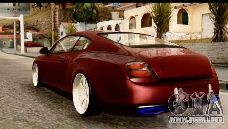 Bentley Continental VIP Stance Style para GTA San Andreas vista posterior izquierda