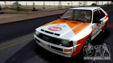 Audi Sport Quattro B2 (Typ 85Q) 1983 [IVF] para el motor de GTA San Andreas