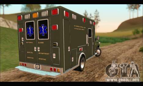 Ford E450 Ambulance SANG Tactical Rescue para GTA San Andreas vista posterior izquierda