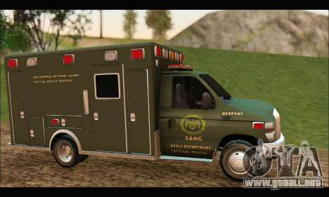 Ford E450 Ambulance SANG Tactical Rescue para GTA San Andreas left
