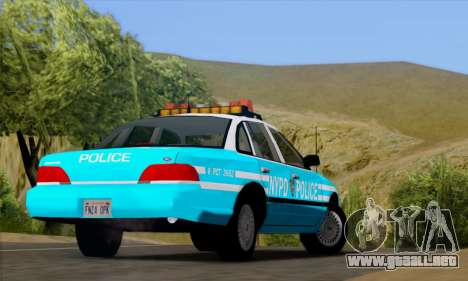 Ford Crown Victoria NYPD Blue para GTA San Andreas vista hacia atrás