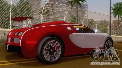 Bugatti Veyron Grand Sport Sang Bleu 2008 para GTA San Andreas vista posterior izquierda