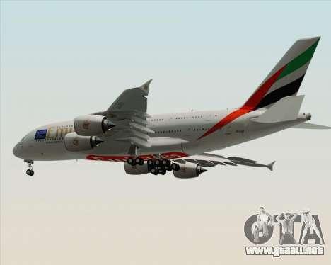 Airbus A380-800 Emirates (A6-EDJ) para GTA San Andreas vista hacia atrás