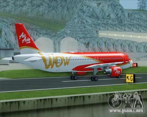 Airbus A320-200 Indonesia AirAsia WOW Livery para vista lateral GTA San Andreas