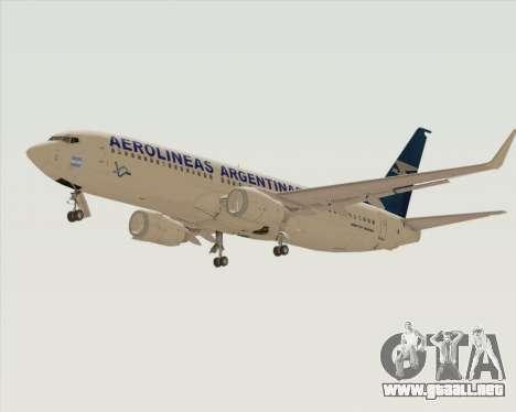 Boeing 737-800 Aerolineas Argentinas para GTA San Andreas vista hacia atrás