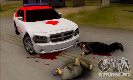 Dodgle Charger Ambulance para GTA San Andreas vista posterior izquierda