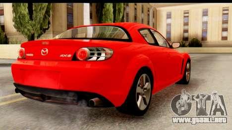 Mazda RX-8 2005 para GTA San Andreas left