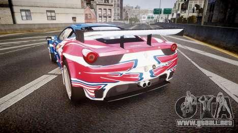 Ferrari 458 GT2 Stevenson Racing para GTA 4 Vista posterior izquierda