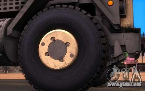 Oshkosh M1070 HET Tank Transporter para GTA San Andreas vista posterior izquierda