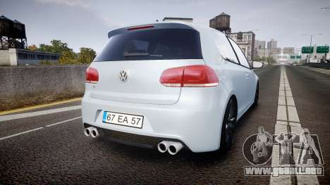 Volkswagen Golf R para GTA 4 Vista posterior izquierda