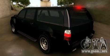 GTA 5 FIB Granger para GTA San Andreas vista posterior izquierda