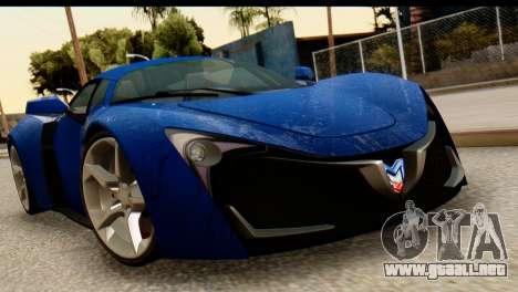 Marussia B2 para GTA San Andreas vista hacia atrás