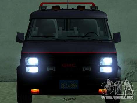 GMC The A-Team Van para GTA San Andreas vista posterior izquierda