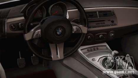 BMW Z4 V10 IVF para GTA San Andreas vista hacia atrás