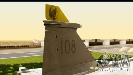 Saab Gripen NG para GTA San Andreas vista posterior izquierda