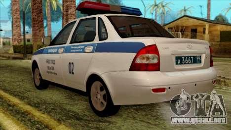 Lada Priora 2170 Policía DPS Moscú para GTA San Andreas left