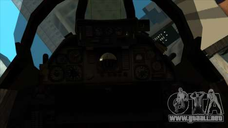 F-14 Black Storm para GTA San Andreas vista hacia atrás