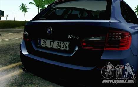 BMW 530d F11 Facelift HQLM para GTA San Andreas vista hacia atrás
