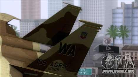 F-15C Camouflage Pack para GTA San Andreas vista posterior izquierda