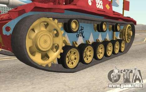StuG III Ausf. G Girls and Panzer Color Camo para GTA San Andreas vista hacia atrás