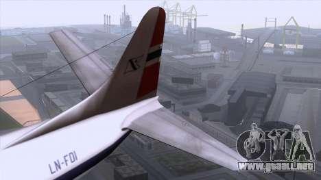 L-188 Electra Fled Olsen para GTA San Andreas vista hacia atrás