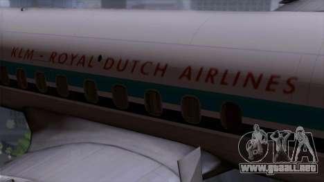 L-188 Electra KLM v1 para GTA San Andreas vista hacia atrás