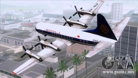 L-188 Electra Mandala Airlines para GTA San Andreas left