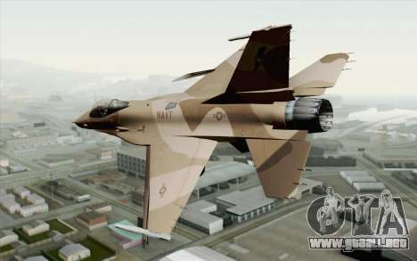 F-16C Fighting Falcon NSAWC Brown para GTA San Andreas left