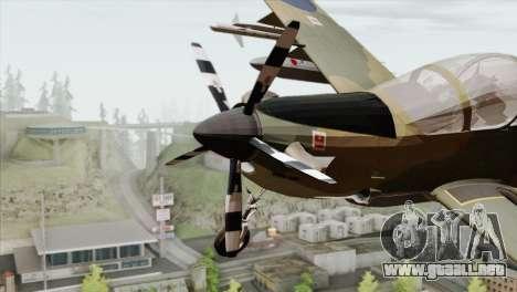 Embraer A-29B Super Tucano RAF para GTA San Andreas vista hacia atrás