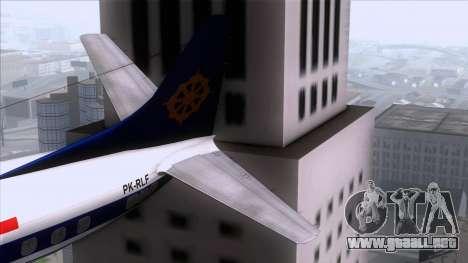 L-188 Electra Mandala Airlines para GTA San Andreas vista posterior izquierda