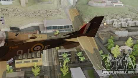 Embraer A-29B Super Tucano RAF para GTA San Andreas vista posterior izquierda