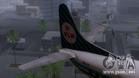 L-188 Electra KLM v1 para GTA San Andreas vista posterior izquierda