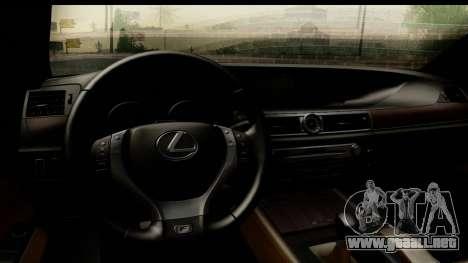 Lexus GS350 para GTA San Andreas vista hacia atrás