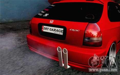 Honda Civic DRY Garage para GTA San Andreas vista hacia atrás