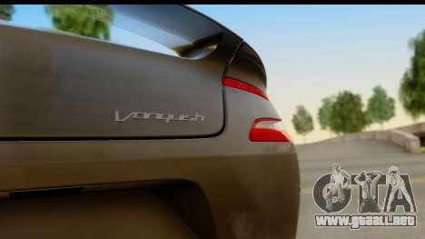 Aston Martin Vanquish 2013 Road version para GTA San Andreas vista posterior izquierda