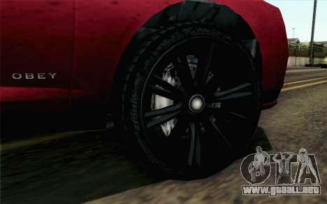 GTA 5 Obey Tailgater v2 SA Style para GTA San Andreas vista posterior izquierda