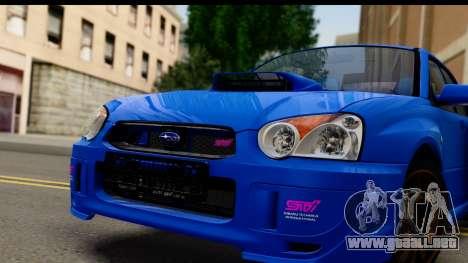 Subaru Impreza WRX STI 2004 para GTA San Andreas vista posterior izquierda