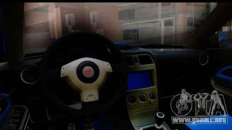 Subaru Impreza WRX STI 2004 para visión interna GTA San Andreas