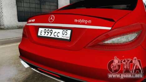 Mercedes-Menz CLS63 AMG para GTA San Andreas vista hacia atrás