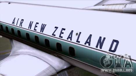 L-188 Electra Air New Zealand para GTA San Andreas vista hacia atrás