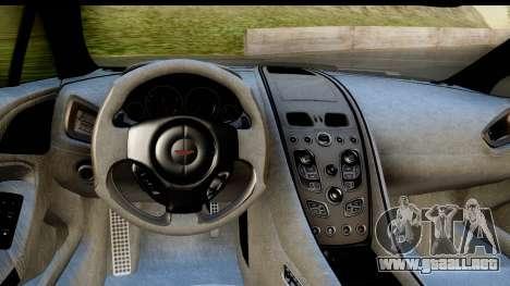Aston Martin Vanquish 2013 Road version para GTA San Andreas vista hacia atrás