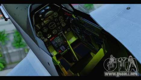 P-51 Mustang Mk4 para GTA San Andreas vista hacia atrás