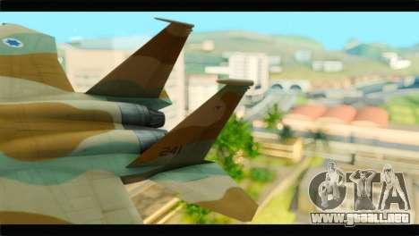 Boeing F-15C IAF para GTA San Andreas vista posterior izquierda